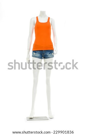 Full female mannequin in trousers, jeans shorts and blue peignoir shirt - stock photo