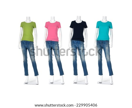 Full female mannequin t-shirt dressed in jeans on white background - stock photo