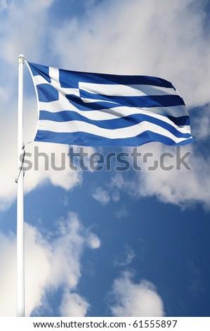 Full flag of Greece - stock photo