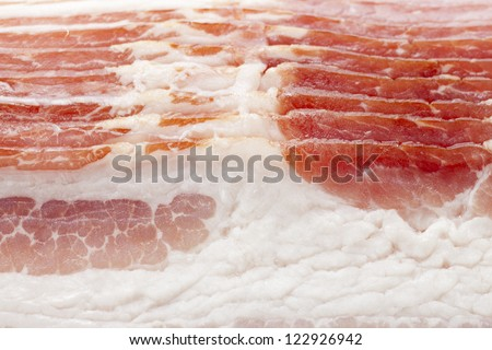Full frame close-up of raw bacon. - stock photo