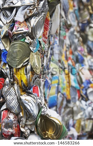 Full frame image of crushed tin cans for recycling - stock photo