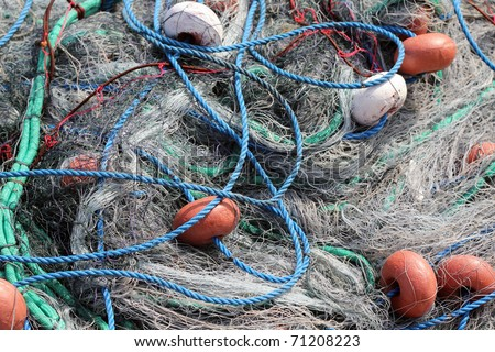 full frame image of fishing nets and rope - stock photo