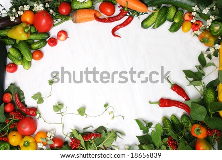 Full frame of a broad variety of Berries and vegetables - stock photo