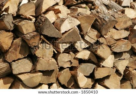 full frame of firewood - stock photo
