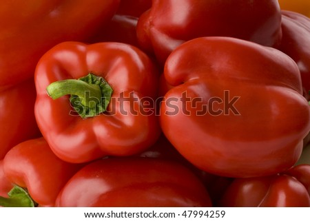 Full frame of red peppers horizontal - stock photo
