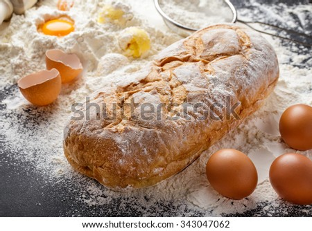 full frame portrait of rustic homemade bakery with ingredients - stock photo