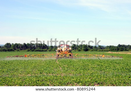 Full frame rear view of tractor spraying pesticides on soy bean crop - stock photo