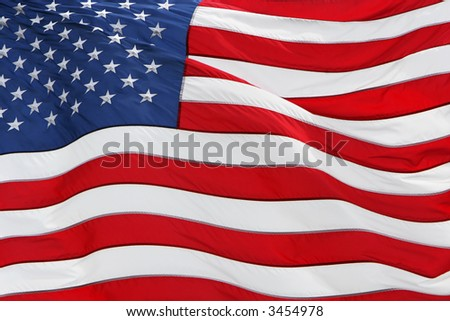 full frame shot of the US flag flying - stock photo