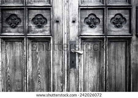 Full frame take of an old wooden door - stock photo