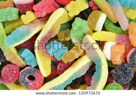 Full frame view of multicolored candies closeup - stock photo