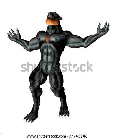 Full front view Lycan Werewolf, arms stretched wide claws extended. Head back howling, teeth and fangs showing. Isolated on white background. Illustration - stock photo