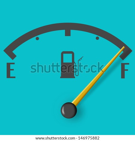 Full fuel sign with yellow indicator isolated on blue background - stock photo