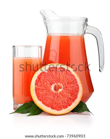 Full glass and jug of grapefruit juice and fruits isolated on white background