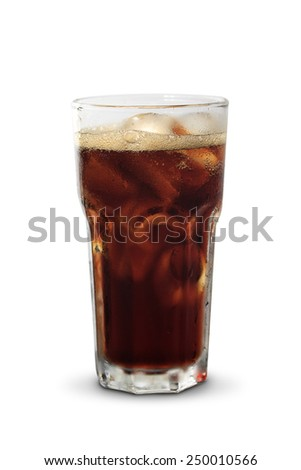 Full glass of cola, isolated on white background