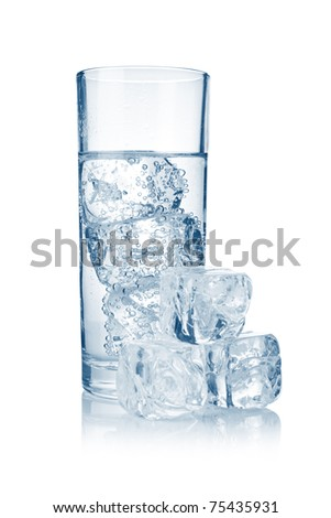 Full glass of fresh cool carbonated water with ice isolated on white
