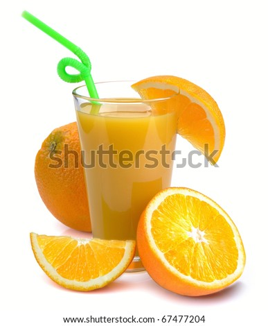 Full glass of fresh orange juice and fruits near it. Isolated on a white.