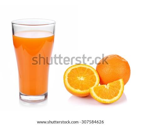 Full glass of orange juice and Orange fruit isolated on white background - stock photo