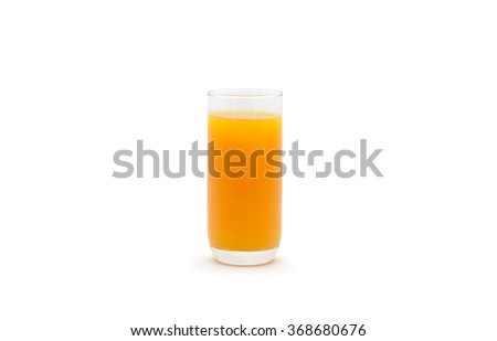 Full glass of orange juice Clipping Path  on white background - stock photo