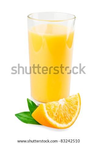Full glass of orange juice isolated on white background - stock photo
