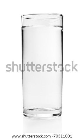 Full glass of water isolated on white background with clipping path - stock photo