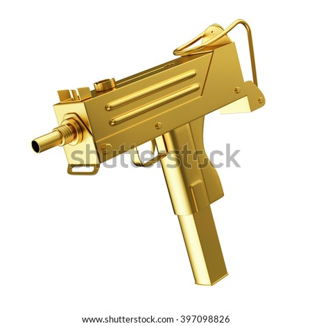 Full Golden Automatic 9mm Machine Gun isolated on white background. Military Weapons Concept. 3D Rendering - stock photo