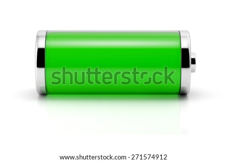 Full green battery symbol. Isolated on white