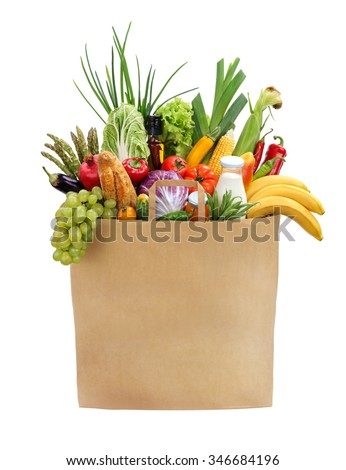 Full grocery bag / studio photography of brown grocery bag with fruits, vegetables, bread, bottled beverages - isolated over white background. High resolution product - stock photo