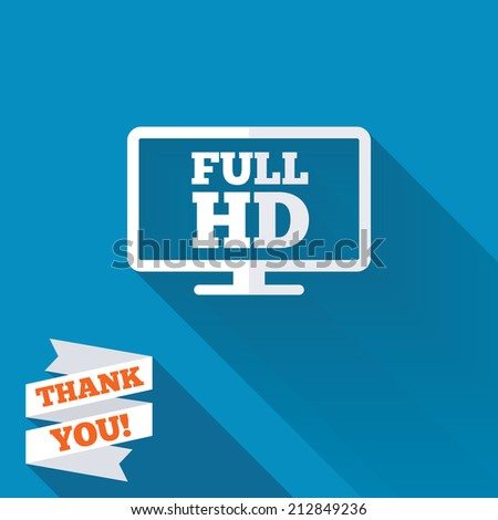 Full hd widescreen tv sign icon. High-definition symbol. White flat icon with long shadow. Paper ribbon label with Thank you text. - stock photo
