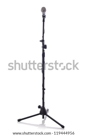 full height microphone stand with microphone isolated on white background - stock photo