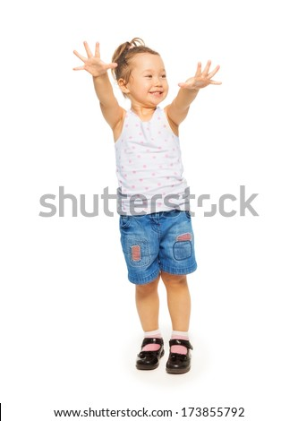 Full height portrait of Asian 4 years old girl standing isolated on white - stock photo