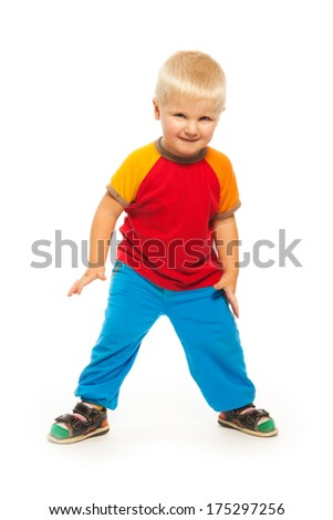 Full height portrait of blond 2 years old boy standing isolated on white  - stock photo