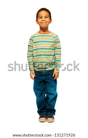 Full height portrait of cute black boy with smile on face standing isolated on white - stock photo