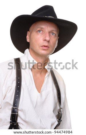 Full isolated picture from a farmer in western style