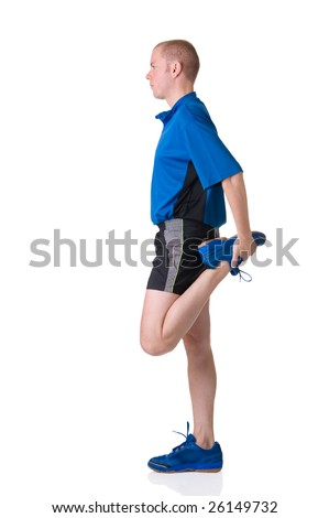 Full isolated picture of a caucasian man stretching the muscles - stock photo