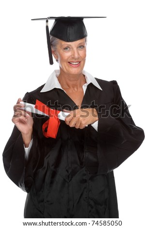 Full isolated portrait of a active senior graduate