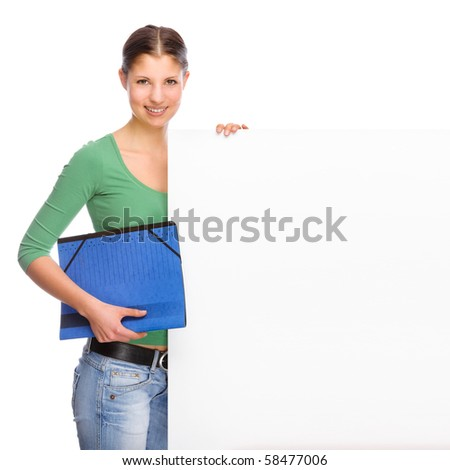 Full isolated portrait of a beautiful and happy young student with blank sign - stock photo