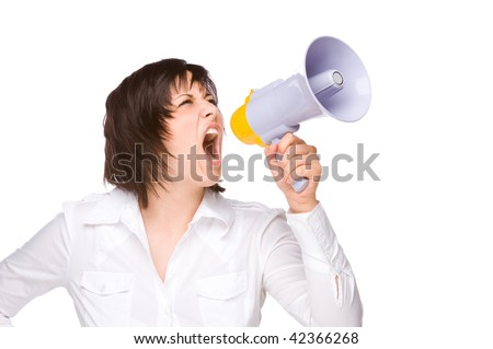 Full isolated portrait of a beautiful caucasian businesswoman shouting with a megaphone - stock photo