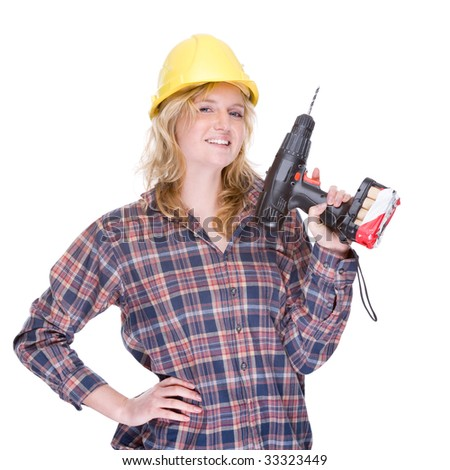 Full isolated portrait of a beautiful caucasian craftswoman with a drill machine - stock photo