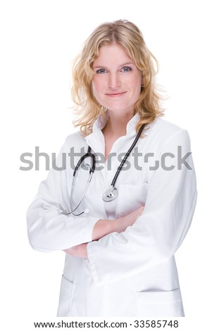 Full isolated portrait of a beautiful caucasian doctor - stock photo