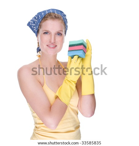 Full isolated portrait of a beautiful caucasian housewife at work - stock photo