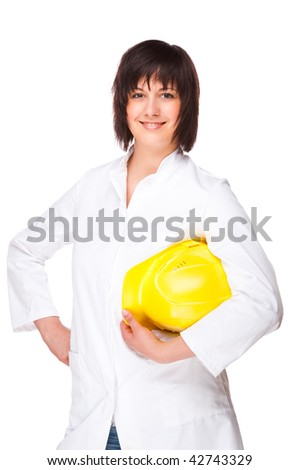 Full isolated portrait of a beautiful caucasian technician - stock photo