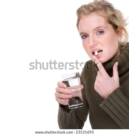 Full isolated portrait of a beautiful  caucasian woman with some medicine - stock photo