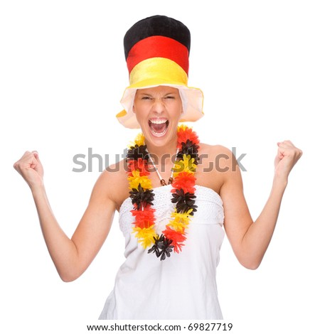 Full isolated portrait of a beautiful german soccer fan - stock photo