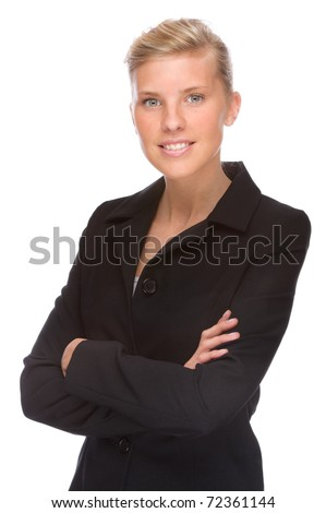 Full isolated portrait of a caucasian businesswoman - stock photo