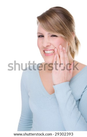 Full isolated portrait of a caucasian woman with toothache - stock photo