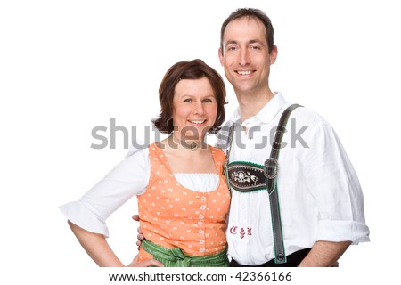 Full isolated studio picture from a bavarian couple - stock photo