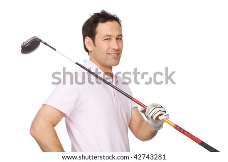 Full isolated studio picture from a golf player - stock photo
