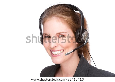 Full isolated studio picture from a young and beautiful callcenter agent