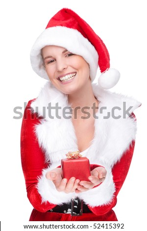 Full isolated studio picture from a young and beautiful Christmas woman with present - stock photo