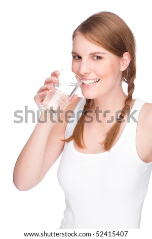Full isolated studio picture from a young and beautiful woman with a glass of water